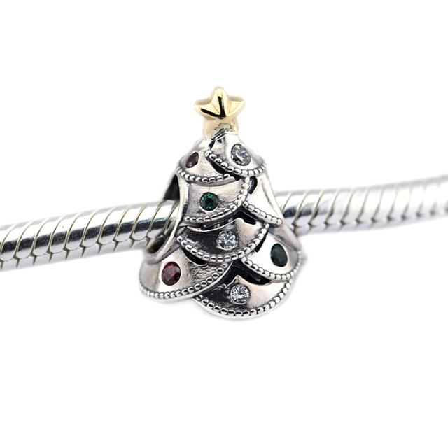 Árvore festiva multi-colorido cz árvore de natal charme fit pandora pulseira esterlina-prata-contas de colar de jóias diy atacado