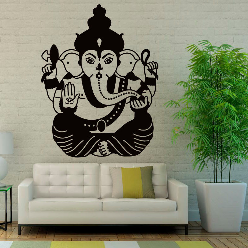 ZOOYOO Ganesha Wall Stickers Home Decor Living Room Indian Elephant Lord Wall Decals Vinyl Art Murals