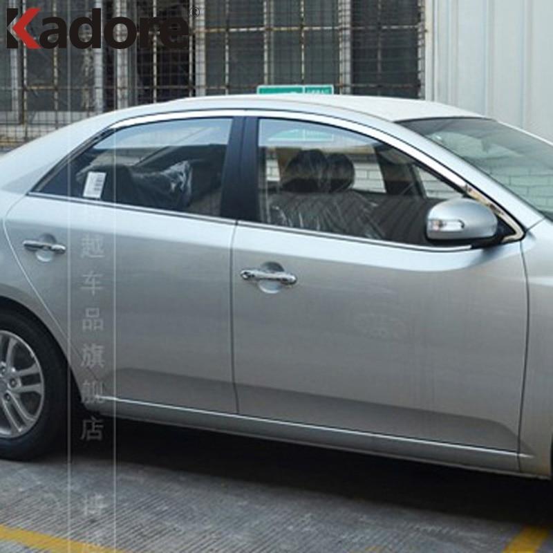 Для Форте Киа Cerato 2010 2011 2012 из нержавеющей стали 10шт/комплект Автоматический внешний Декор окна формования отделка окна броской рамкой