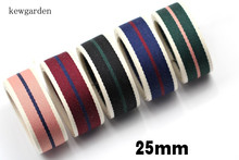 Kewgarden 25mm 1 Stripe Cotton Satin Ribbons Handmade Bowknot Ribbon DIY Tape Riband 6m /lot