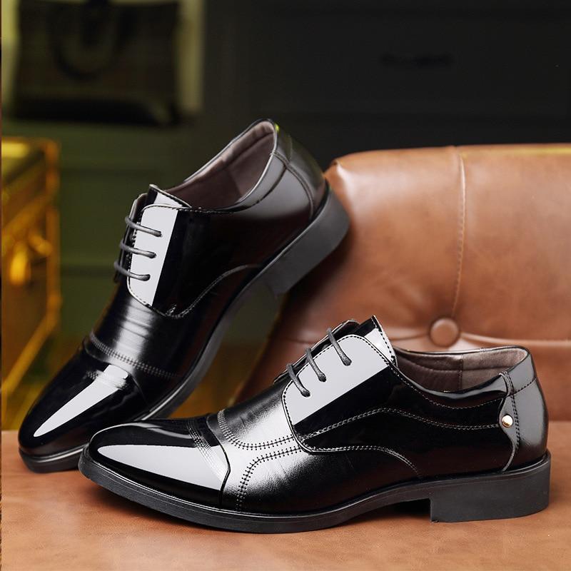 Homens Casamento Respirável Oxford Preto Dos Negócios Formal marrom De Novo Casuais Preto 2018 Sapatos Couro Marrom Escritório Sapatas Vestido waOOtq