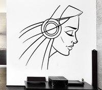 New Sexy Girl Vinyl Wall Headphones Girl Teen Sexy Music Cool Decor Rock Pop For Bedroom Mural Wall Sticker Home Decoration