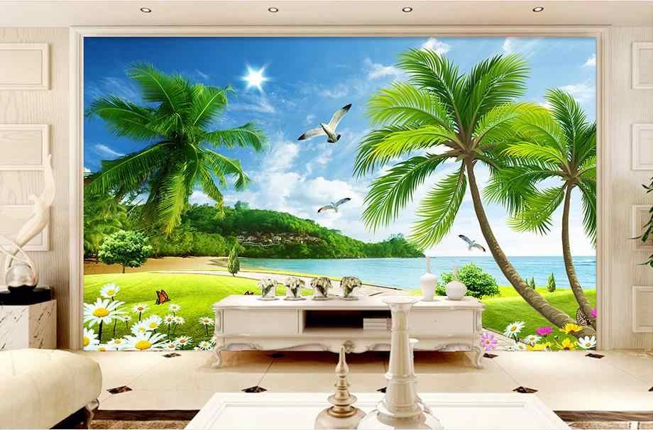 Custom 3d Wallpaper For Walls 3 D Wall Murals Beach The