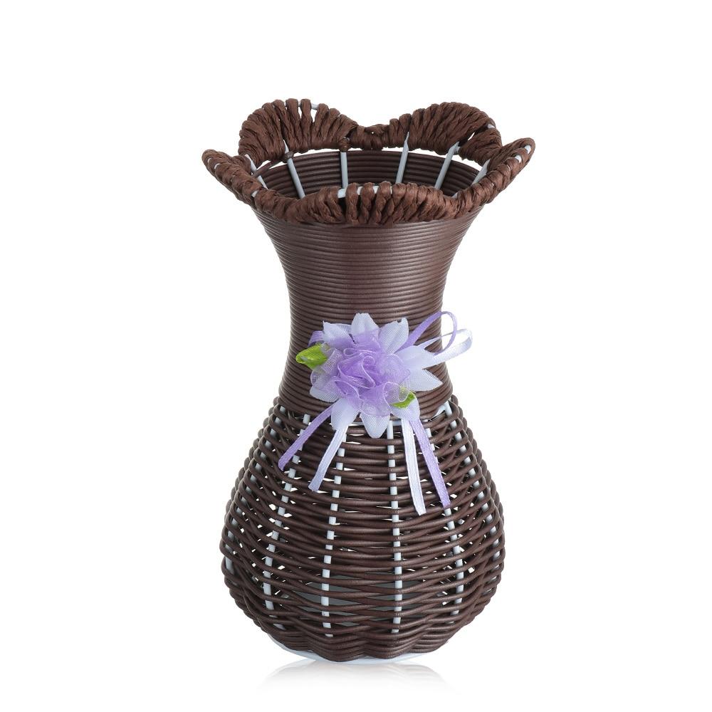 Home Decoration Artificial Flower Ornament Vase Rattan Woven Vase Floral Basket
