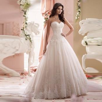 Vestido De Noiva Lace Trouwjurk Gelinlik Elegant A-line Sweetheart Appliqued Tulle Bridal Wedding Dress 2017