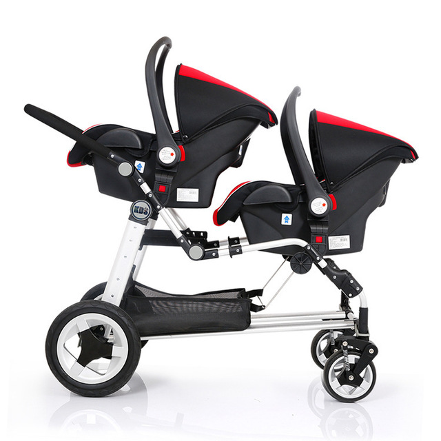 Frame Share Twins Stroller With 2 Car Seats Carrycot Super Shock Absorbing Baby Pram Carriage Total