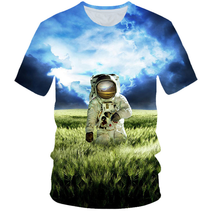 T-Shirt Boys Cloud-Printing Exploration Astronaut Girls Children Lovely 3D 4-20T Gift