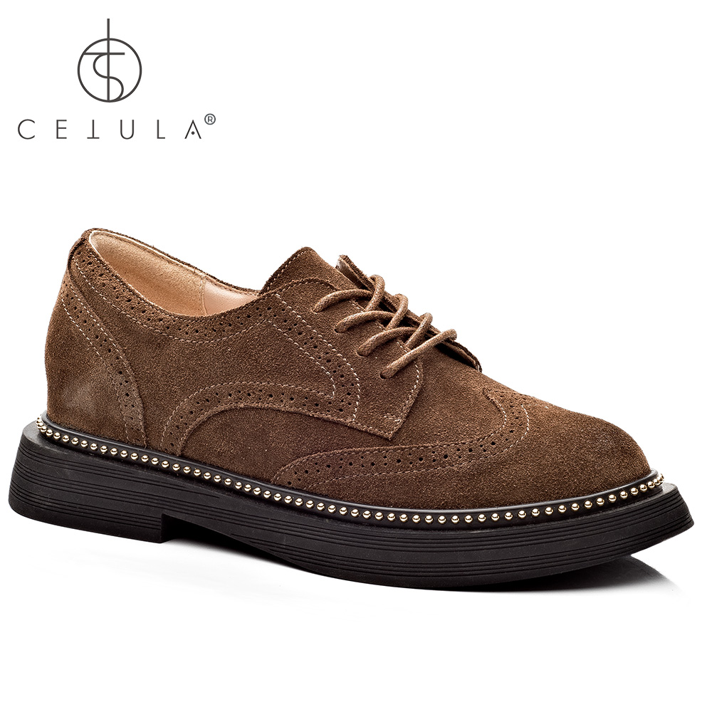 1fbc0c23084218  Cetula 2018 Handcrafted Cow Suede Lace-up   Traditional Stitching Women  Work Slip-