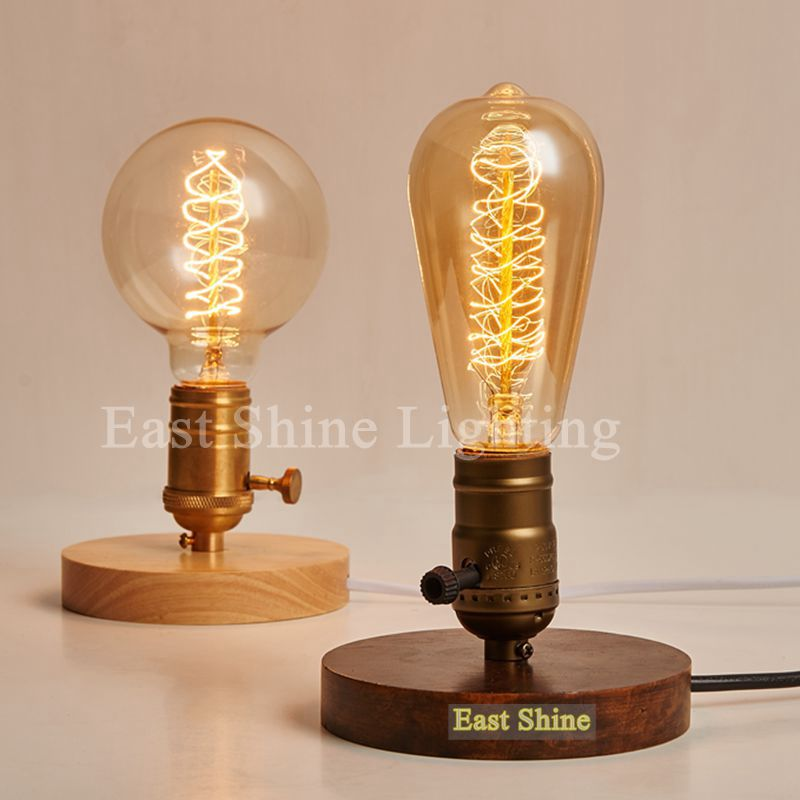 2015 New Vintage Wood Table Lamps Industrial Edison Bulb Table ...