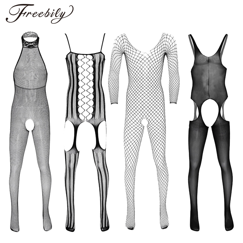 Men Bodysuit See Through Sheer Hollow Out Stretchy Bar Club Dance Party Transparent Bodystockings Male Sharpwear Body Stocking
