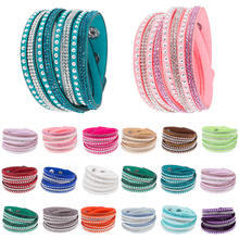 Fashion Multilayer Crystal Bangle Punk Rhinestones Cuff Leather Colored for women girls charming female Jewelry