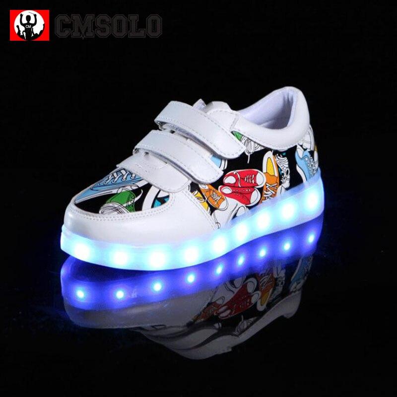 294e5dbf003 CMSOLO Λαμπερά πάνινα παπούτσια φωτεινά led παπούτσια Παιδιά αγόρια ...