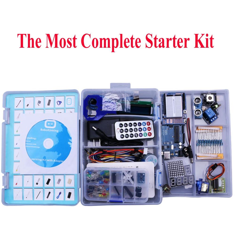 Elego Projeto O Mais Completo Starter Kit para Arduino UNO UNO Mega2560 Nano com Tutorial/fonte de Alimentação/Stepper Motor