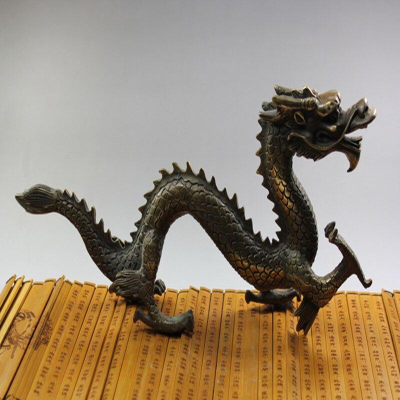 Statues et Sculptures de Dragon en cuivre d'animaux de Style chinois pour la décoration intérieure ornements de bureau artisanat chinois