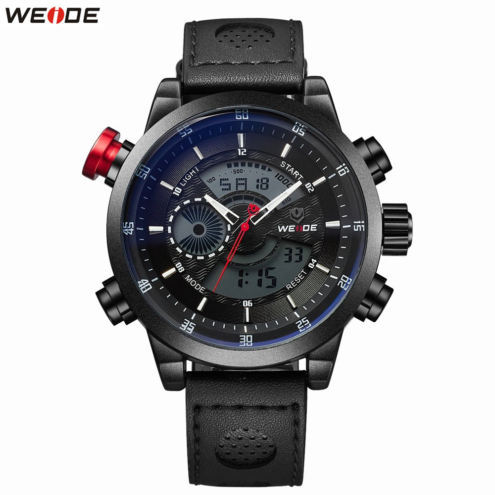 NEW Original Fashion WEIDE 30m Waterproof Sports Watch Men Digital Quartz Watch Leather Strap Male Alarm LED Wristwatch Relogios weide original brand sports military watch men fashion quartz wrist watch pu band 30m waterproof multifunctional sale items
