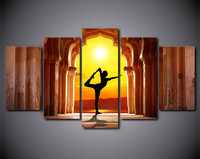 HD Printed 5 Piece Canvas Art Painting Yoga Fitness Twilight Hall Prints Painting Wall Pictures For