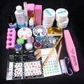 Pro Full Acrylic Glitter Powder Glue French UV Gel Brush Nail Sticker Nail Art Tips Kit Set #74