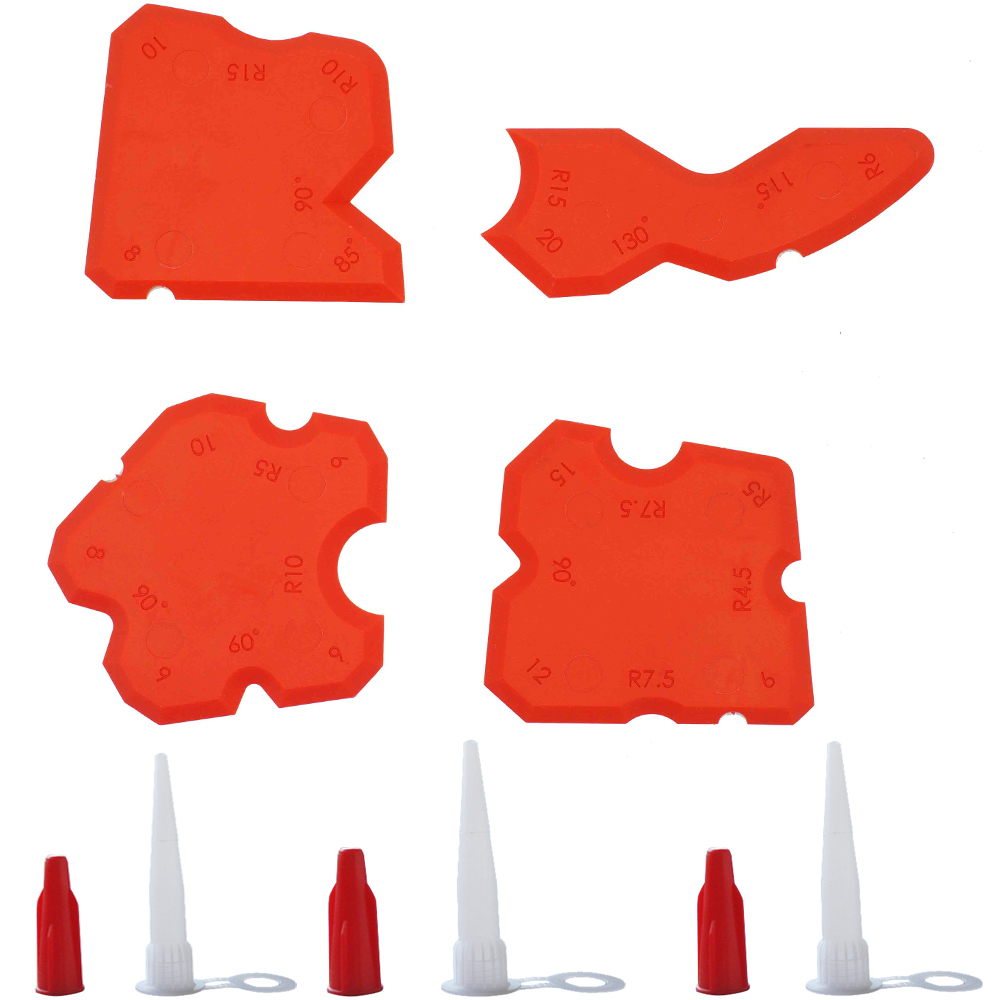 Free Shipping 1set Per Order Fladess Caulking Tool Kit Joint Sealant Rubber Scraper Red.Set Of 4 And 3sets Nozzles And Red Caps
