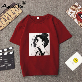 2019 Nova Moda Camisetas Mulher Primavera Verão Meninas Imprimir Manga Curta O Pescoço T-Shirt Mulheres Soltas Tops Slim Fit Suave Senhora Tshirt 1
