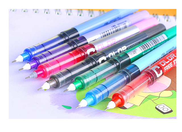 1pc 0.5 Needle type straight liquid type ball pen color pen water Gel Pens 1