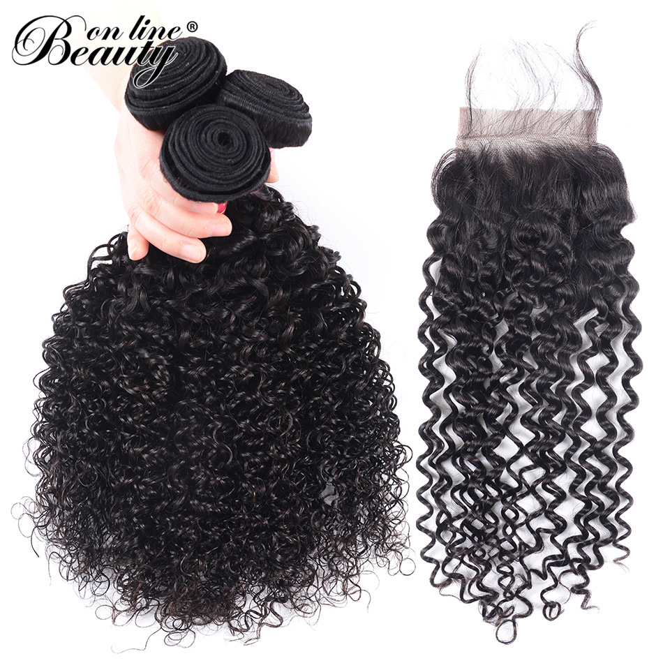 Beauty On Line Peruvian Afro Kinky Curly Wave Human Hair Bundles With Closure 3 Bundles With Lace Closure 4x4 with 8-28 Inch