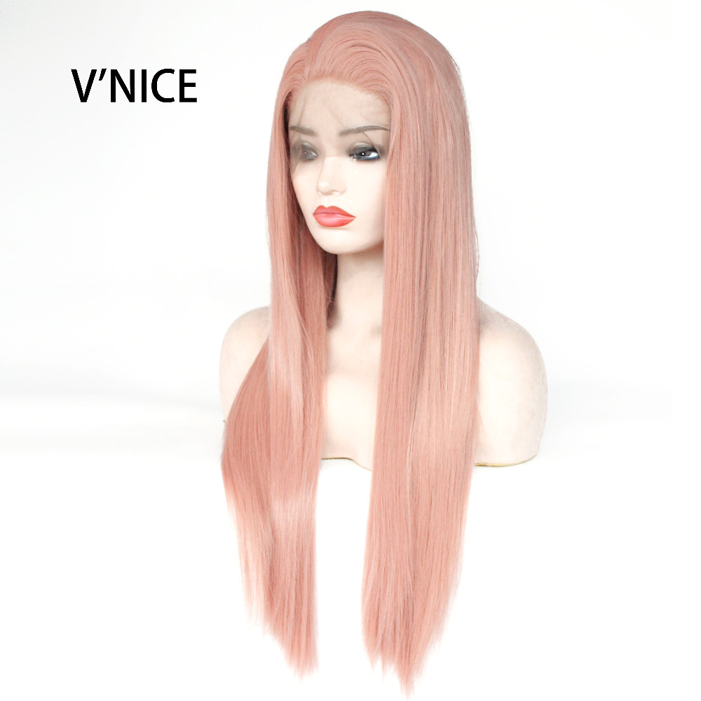 VNICE Heat Resistant Glueless Wig Natural Hairline Straight Fully Wigs for Women Rose Gold Mixed Pink