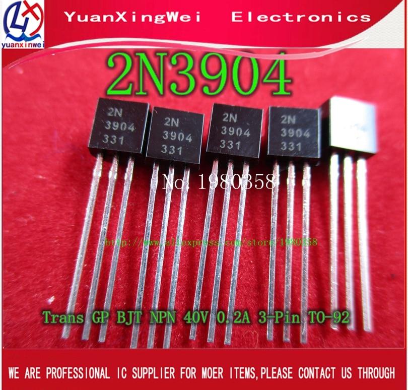 100pcs Triode 2N3904 TO-92 0.2A 40V NPN Original New Special Sales