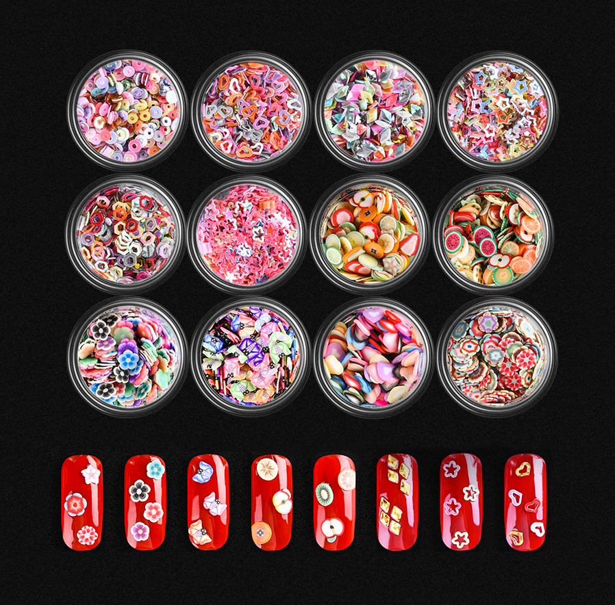 Maychao 6 bottles Mixed Nail Art Sticker Polymer Clay Colorful 3D Fruit fimo Flower slice DIY Nail Decoration