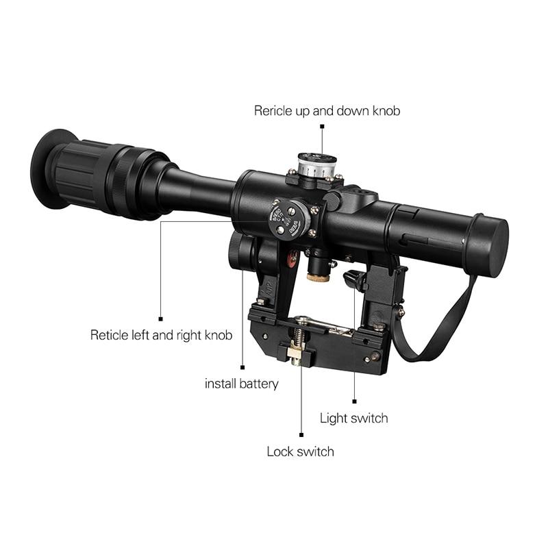 FIRE WOLF 4x24 PSO tipo Riflescope DVD Rifle de francotirador Serie AK Rifle alcance para Vista de caza - 4