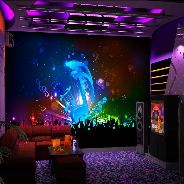 New Large Scale Fresco 3d Wallpaper Dynamic Colorful Music Symbol