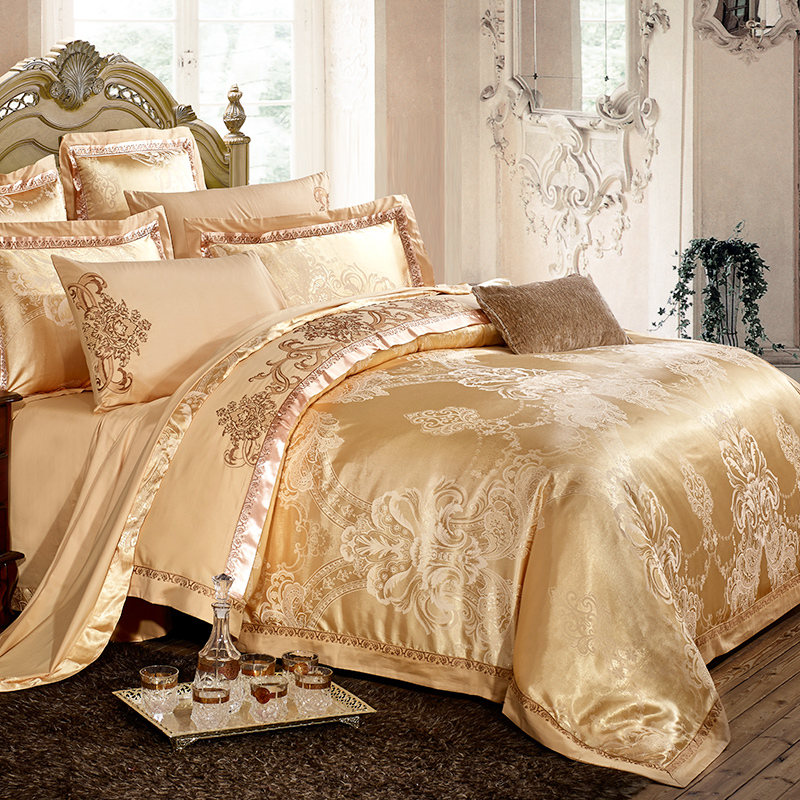 Bamboo Fiber Textile Cotton Satin Jacquard Bed Sheet Quilt Four Sets Of  Summer 4 Sets Of Simple Bed Size 2.0m