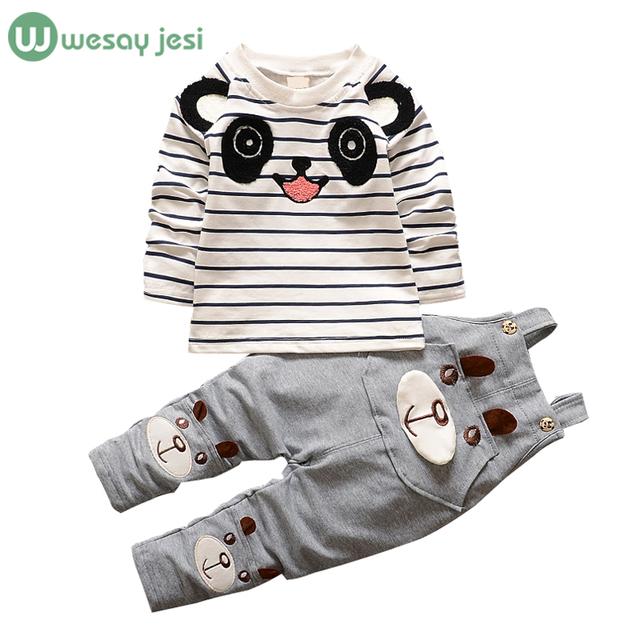 Meninos do bebê roupas de Marca Macacões Para crianças coreano meninas roupas panda dos desenhos animados da criança meninos de roupas ternos dos esportes das crianças