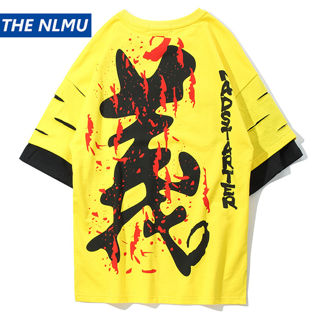 Chinese Character Printed Streetwear T Shirts 2019 Summer Men Hip Hop Hole Tshirts Male Casual Tops Tee Fake Two Pieces WJ2011