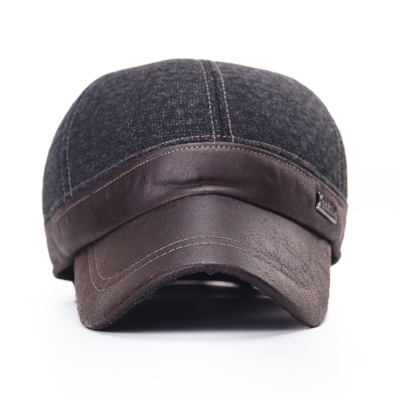 2015 GOOD Quality Brand Faux Leather Men's Golf Cap Leisure Winter Snapback Caps Warm Baseball Durable Comfortable Hats - China style with SMART store