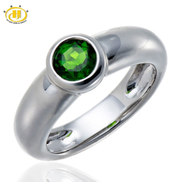 Hutang Natural Chrome Diopside (Russian) Solid Sterling Silver 925 Solitaire Ring Fine  Gemstone Womens Jewelry
