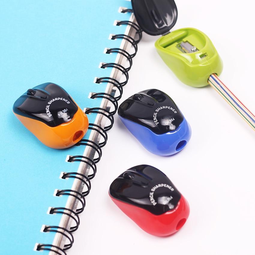 1PC/lot Creative Cute Kawaii Cartoon Mouse Plastic Pencil Sharpener for Kids Novelty Item Korean Stationery Colors Random