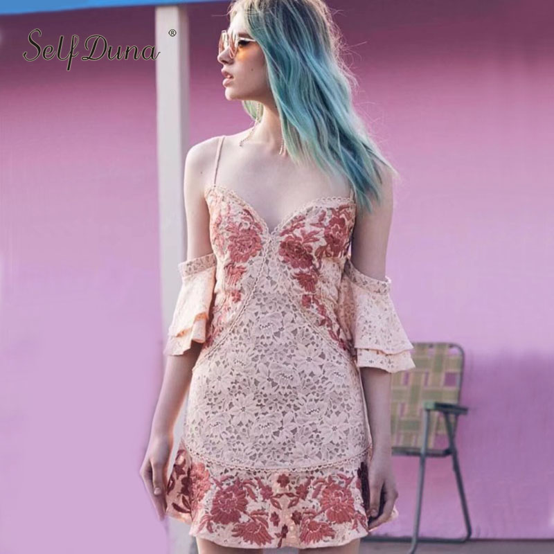 Self Duna 2019 Summer Women Lace Dress Floral Embroidery Short Dresses Vintage Ruffle Spadhetti Strap Sexy Mini Party Dress