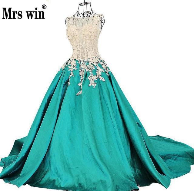 2018 Luxury Jade Green Princess Evening Dress New Bride Banquet Lace ...