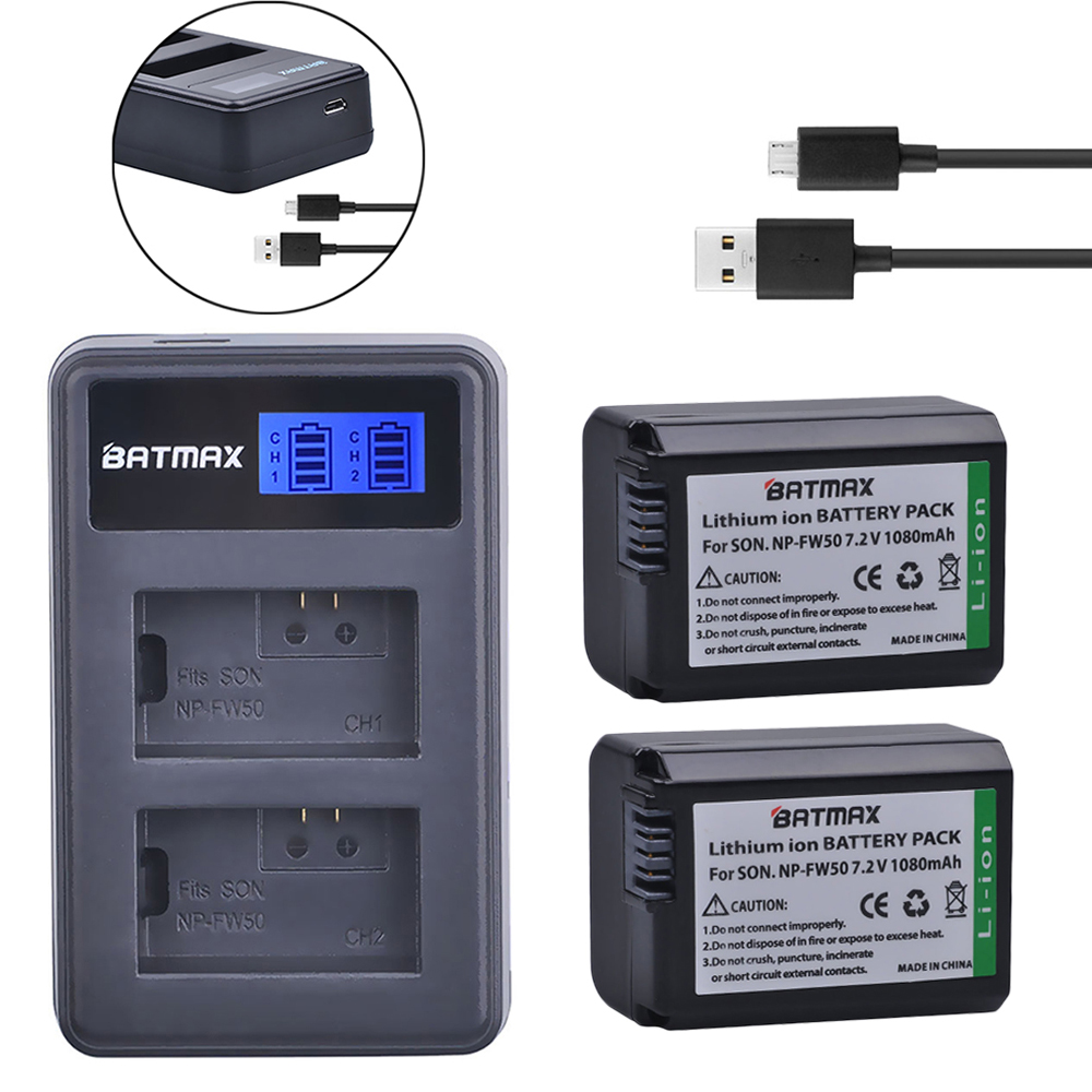 2x NP-FW50 NP FW50 Replacement Li-ion Battery&Dual USB Charger for Sony NEX-5 NEX-7 SLT-A55 A33 A55 A37 A3000 A5000 A51000 A6000 kingma np fw50 npfw50 dual charger 2 np fw50 fw50 battery bateria akku for sony alpha a33 nex 7 c3 5 slt a55 npfw50