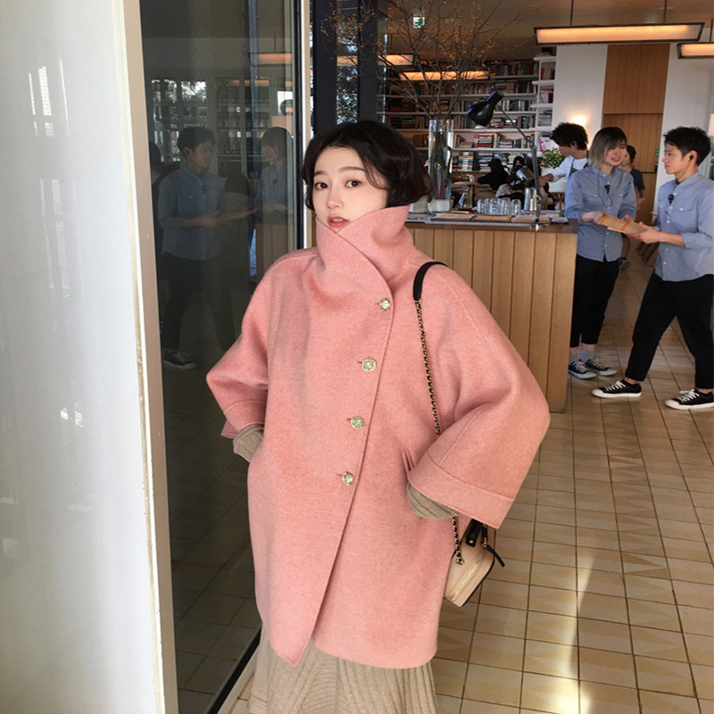Women's Coat Wool Blend Jacket Slim Lapel CollarCan Stand Collar Big Pocket Cashmere Jacket Vintage Autumn Winter Elegant Jacket|Wool & Blends| |  - title=