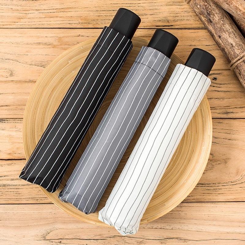 Nouveau durable 10 os 3 fois soleil crème solaire femmes parapluie hommes affaires rayé parapluie livraison gratuite vente