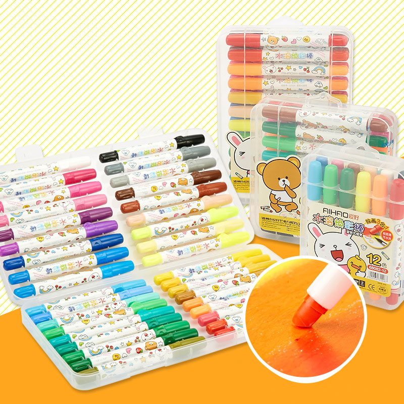 DIY Cute Kawaii Cartoon Bear 12/18/24/36 Watercolor Crayons For Kids Painting Drawing Graffiti Student 1706 20 colors pc korean stationery cute kawaii crayons creative graffiti pens for kids painting drawing supplies student