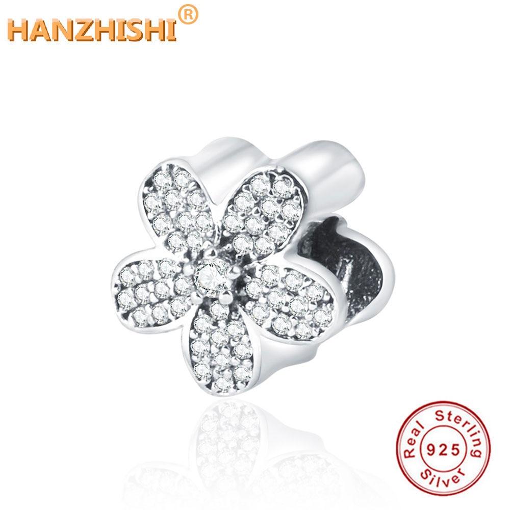 2017 Shitje e Nxehtë Dimërore i Përshtatet Pandora Charms Byzylyk 100% 925 Sterling Silver Bead Flower Lule me Kubik Zircon DIY