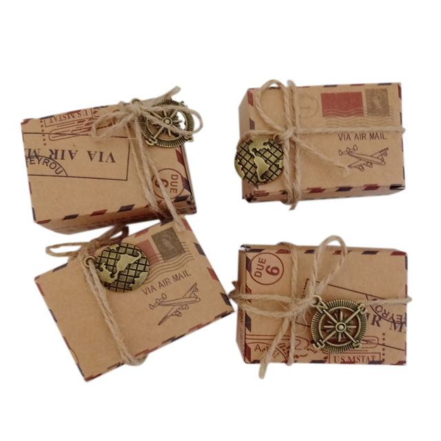 10PCS/lot Retro Mini  Kraft paper Candy Box Packing bag With burlap Accessories earth Compass Wedding Party Favors
