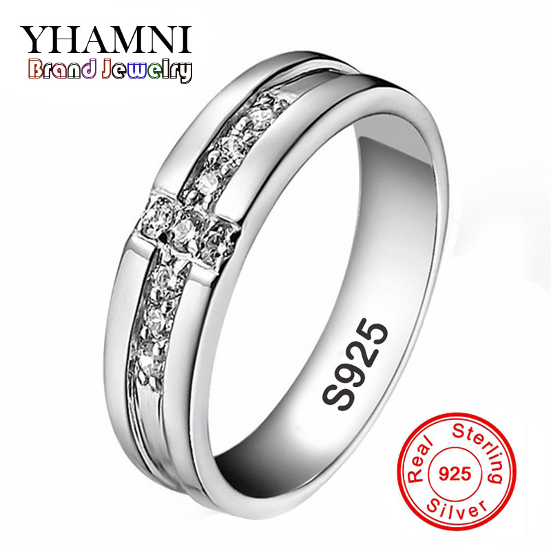 real pure silver cross rings set cz diamant engagement rings for lovers couple 925 silver wedding rings for women and men ar11 - Cheap Wedding Rings For Men