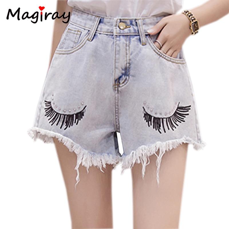 ad8039c5b3 Goedkope Magiray Harajuku Wimper Print Denim Shorts Vrouwen 2019 Zomer Hoge  Taille Verzwakte Crystal Leuke Jeans