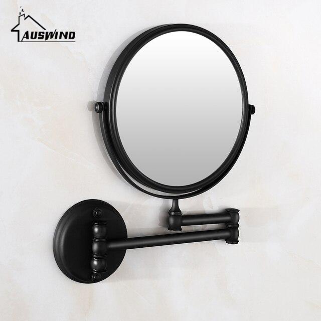 Antique Bathroom Mirror Solid Barss Vintage Wall Mounted Bathroom Mirror  Folding Telescopic 2 Slide 8 Inch
