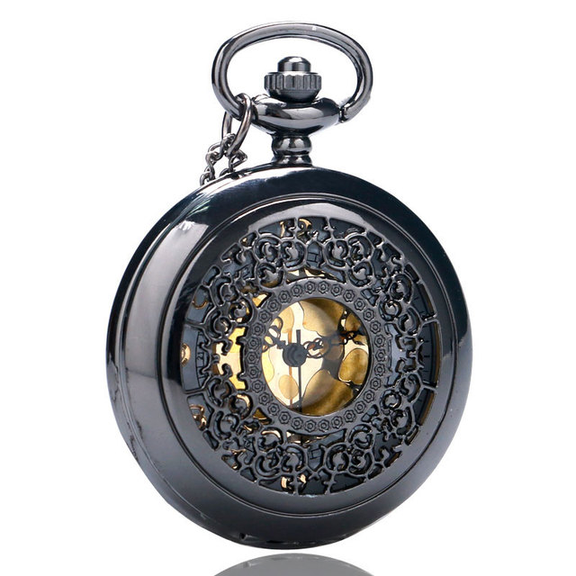New Fashion Black Hollow Quartz Steampunk Pendant Pocket Watch With Chain Neckla