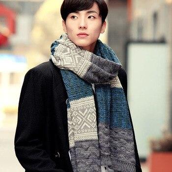 11.11 scarfs men winter New Male Winter Multicolor Patchwork Vintage Men Knitted Scarf Winter Mens Scarves 1