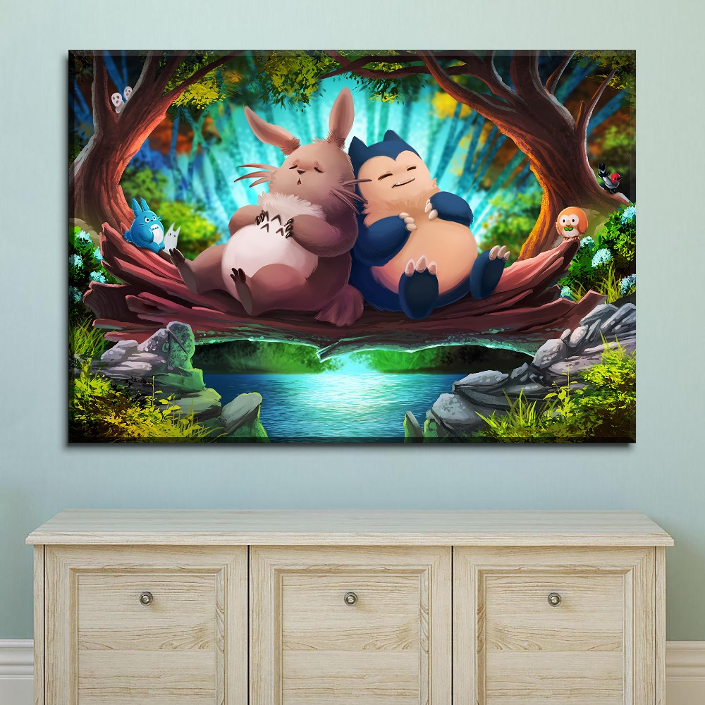 Modern Artwork Canvas Print Type My Neighbor Totoro And Pokemon Cartoon Movie Poster Home Decor Children Room Wall 4 Piece Style 2